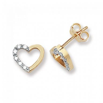 Just Gold Earrings -9Ct Earrings Cz, ES339